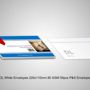 2 DL White Envelopes 220x110mm 80 GSM 50pcs P&S Envelopes