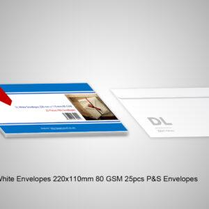 1 DL White Envelopes 220X110mm 80 GSM 25pcs P&S Envelopes